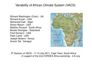 Variability of African Climate System (VACS)