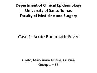 Department of Clinical Epidemiology University of Santo Tomas Faculty of Medicine and Surgery