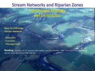 Stream Networks and Riparian Zones Landscape Ecology (EEES 4760/6760) Basic terminology