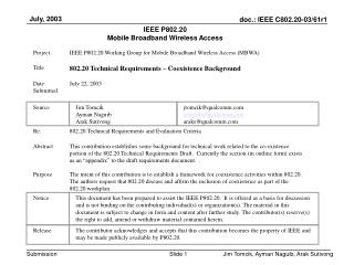IEEE P802.20 Mobile Broadband Wireless Access