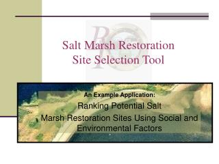 Salt Marsh Restoration  Site Selection Tool