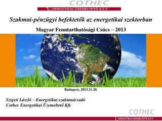 Szakmai-pénzügyi befektetők az energetikai szektorban Magyar Fenntarthatósági Csúcs – 2013