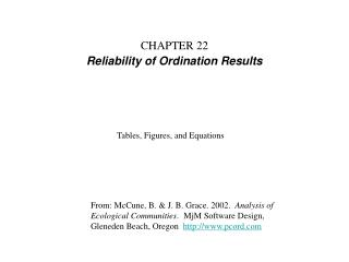 CHAPTER 22 Reliability of Ordination Results