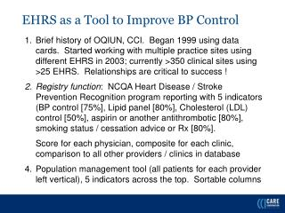 EHRS as a Tool to Improve BP Control
