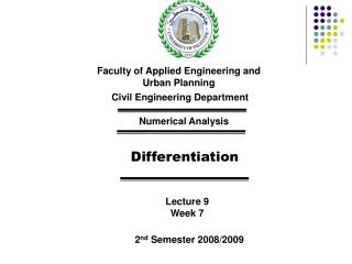 Faculty of Applied Engineering and Urban Planning