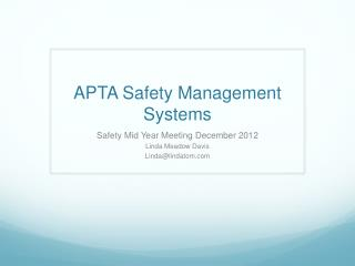 APTA Safety Management Systems