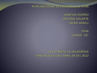 PLAN NACIONAL DE DESARROLLO DEL SENA