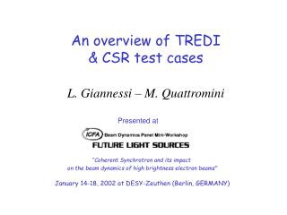 An overview of TREDI & CSR test cases