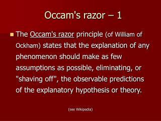 Occam's razor – 1