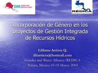 Incorporación de Género en los proyectos de Gestión Integrada de Recursos Hídricos