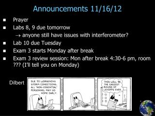 Announcements 11/16/12
