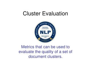 Cluster Evaluation