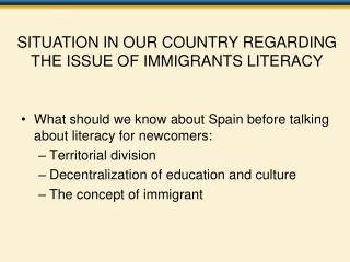What should we know about Spain before talking about literacy for newcomers: Territorial division