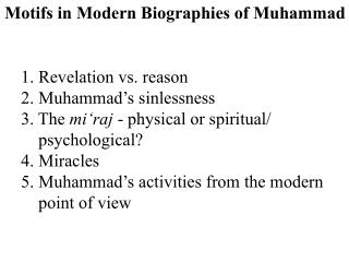 Motifs in Modern Biographies of Muhammad