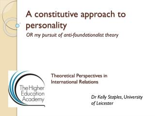 A constitutive approach to personality