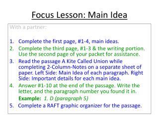 Focus Lesson: Main Idea