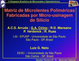 Matriz de Microlentes Poliméricas Fabricadas por Micro-usinagem de Silício