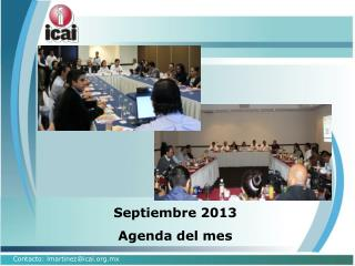Septiembre 2013 Agenda del mes