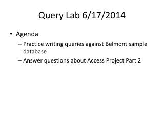 Query Lab  6/17/2014