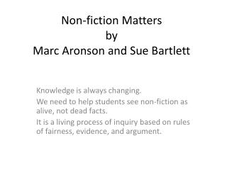 Non-fiction Matters by Marc Aronson and Sue Bartlett