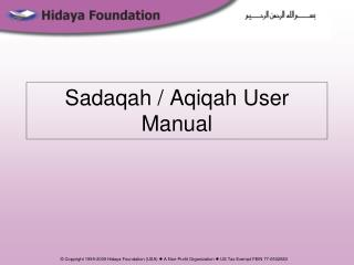 Sadaqah / Aqiqah User Manual
