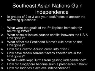 Southeast Asian Nations Gain Independence