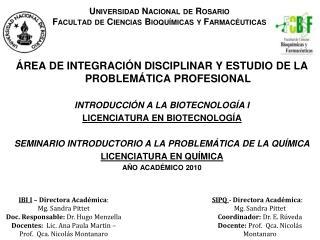 Universidad Nacional de Rosario Facultad de Ciencias Bioqu micas y Farmac uticas