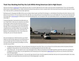 Pay Via Curb While Hiring American Cab In High Desert