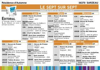11h15  Revue de presse Culture              Magali – RDC Semaine bleue :