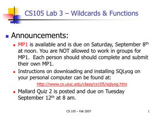 CS105 Lab 3 – Wildcards & Functions