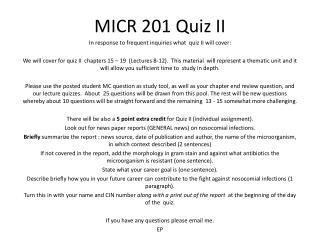 MICR 201 Quiz II