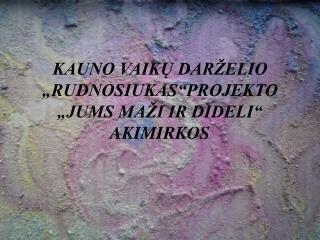 """KAUNO VAIKŲ DARŽELIO """"RUDNOSIUKAS""""PROJEKTO """"JUMS MAŽI IR DIDELI"""" AKIMIRKOS"""