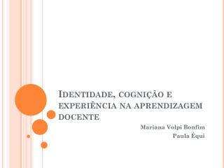 Identidade, cognição e experiência na aprendizagem docente