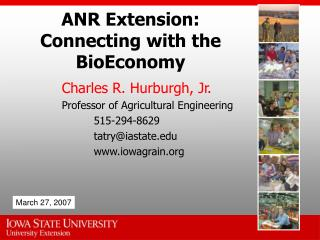 ANR Extension: Connecting with the BioEconomy
