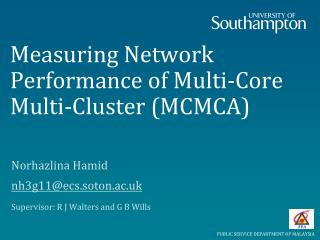 Measuring Network Performance of Multi-Core Multi-Cluster (MCMCA)