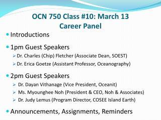 OCN 750 Class #10: March 13 Career Panel