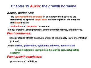 Chapter 19  Auxin : the growth hormone