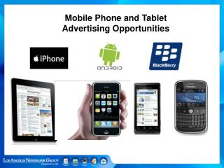 Mobile Phone and Tablet  Advertising Opportunities