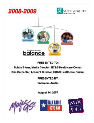 PRESENTED TO: Bobby Bitner, Media Director, HC&B Healthcare Comm.