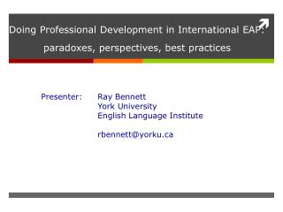 Doing Professional Development in International EAP: paradoxes, perspectives, best practices