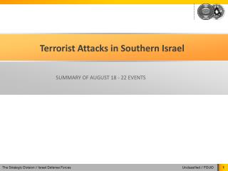 Terrorist Attacks in Southern Israel