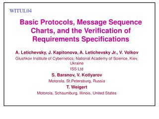 Basic Protocols, Message Sequence Charts, and the Verification of Requirements Specifications