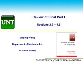 Review of Final Part I Sections 2.2 -- 4.5