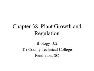 Chapter 38  Plant Growth and Regulation