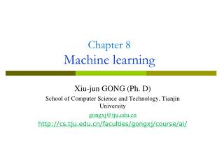 Chapter 8 Machine learning