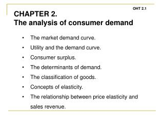 The market demand curve. Utility and the demand curve. Consumer surplus.