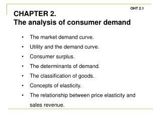 The market demand curve. Utility and the demand curve. Consumer surplus.