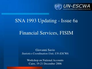 SNA 1993 Updating - Issue 6a Financial Services, FISIM