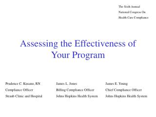 Assessing the Effectiveness of Your Program