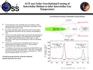 ACE uses Solar Gravitational Lensing of Interstellar Helium to infer Interstellar Gas Temperature